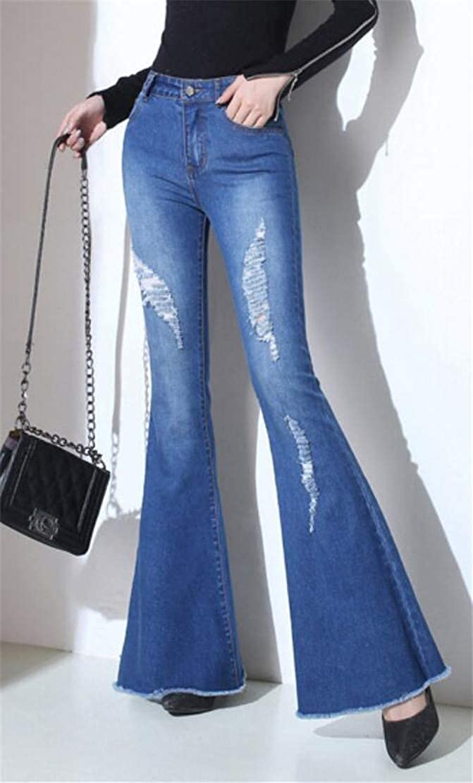 Rrive Womens Mid Waist Hole Classic Bell Bottoms Denim Jeans Pants