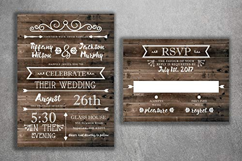 (Country Wedding Invitations Set Printed - Rustic Wedding Invitations, Burlap, Kraft, Wood, Affordable, Vintage, Outside, Cheap, Southern )