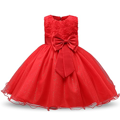 NNJXD Girl Sleeveless Lace 3D Flower Tutu Holiday Princess Dresses Size 4-5 Years Red