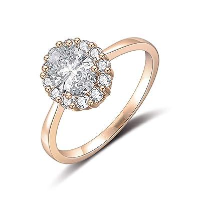 Amazon.com: dnswez Rose Oro Ronda Cz circonio cúbico boda ...