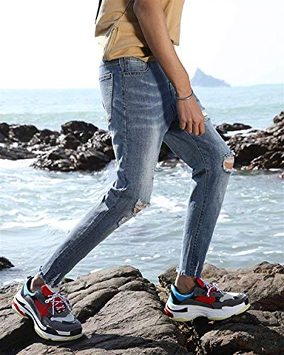 Slim Fori Jeans Da Cher 1801denim Colore Fit Stretch Uomo Strappati Pants Chiaro Pantaloni Lavati Skinny Di zSzqxrB