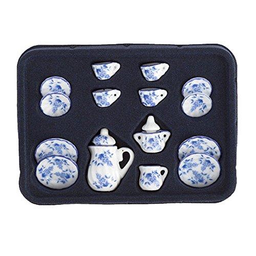 Dollhouse Miniature 1:12 Scale Tea Set, Ceramic, Blue & White, 17 (Miniature Ceramic Tea Set)