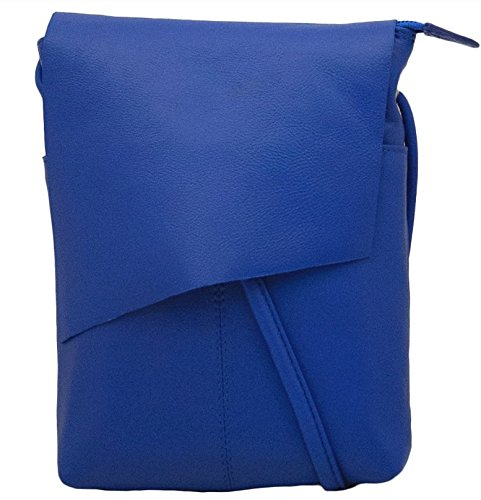 (ili New York 6647 Leather Mini Sac Flap Crossbody (Cobalt))