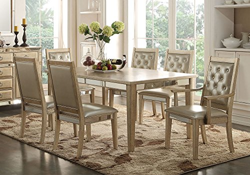 1PerfectChoice Voeville 9 pcs Formal Dining Set Table Leaf Antique White Mirror Tufted Chairs