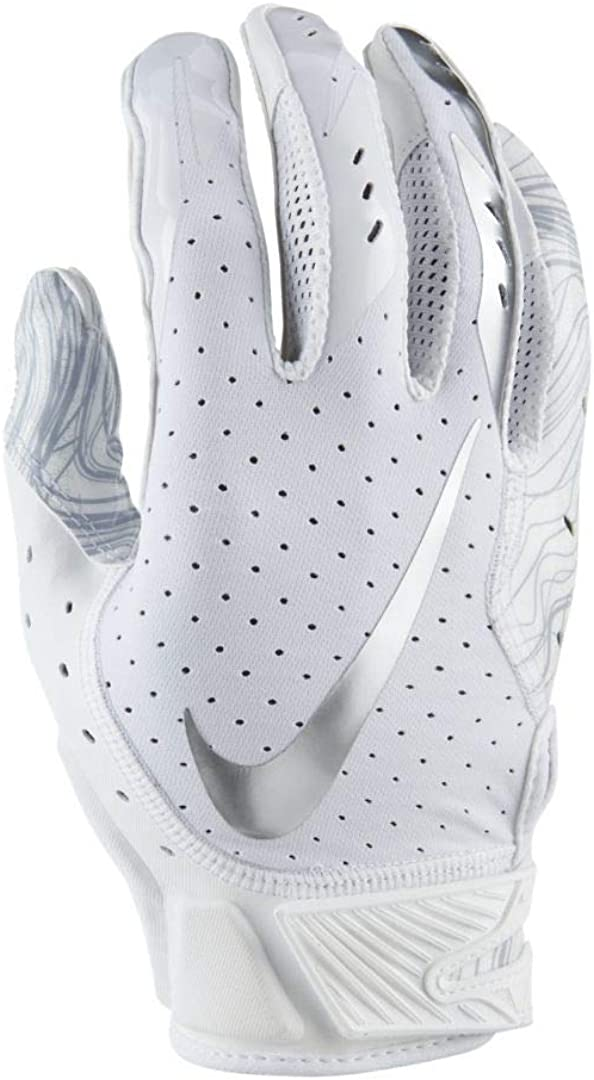 Men's Nike Vapor Jet 5.0 Football Gloves White/Chrome Size Small