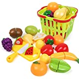 zaidcollections 15pic Realistic Slice able Fruits and vegetable Cutting along with basket