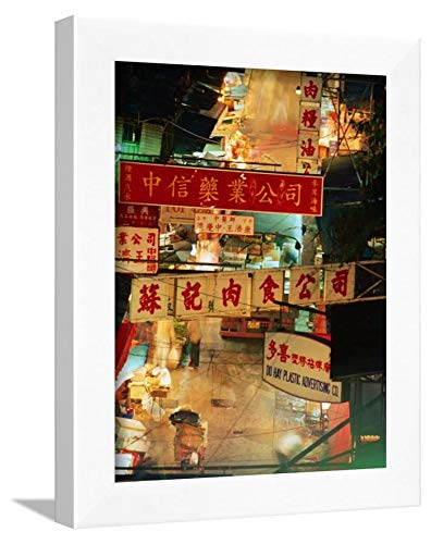 ArtEdge Chinese Banners Hanging At Wet Market, Central, Hong Kong, China Ray Laskowitz, White Framed Wall Art Print, 12x9 (Market Central Hong Kong China)