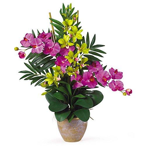 GREATHOPES Double Phal/Dendrobium Silk Flower Arrangement Orchid/Green Home Decoration Flowers ()