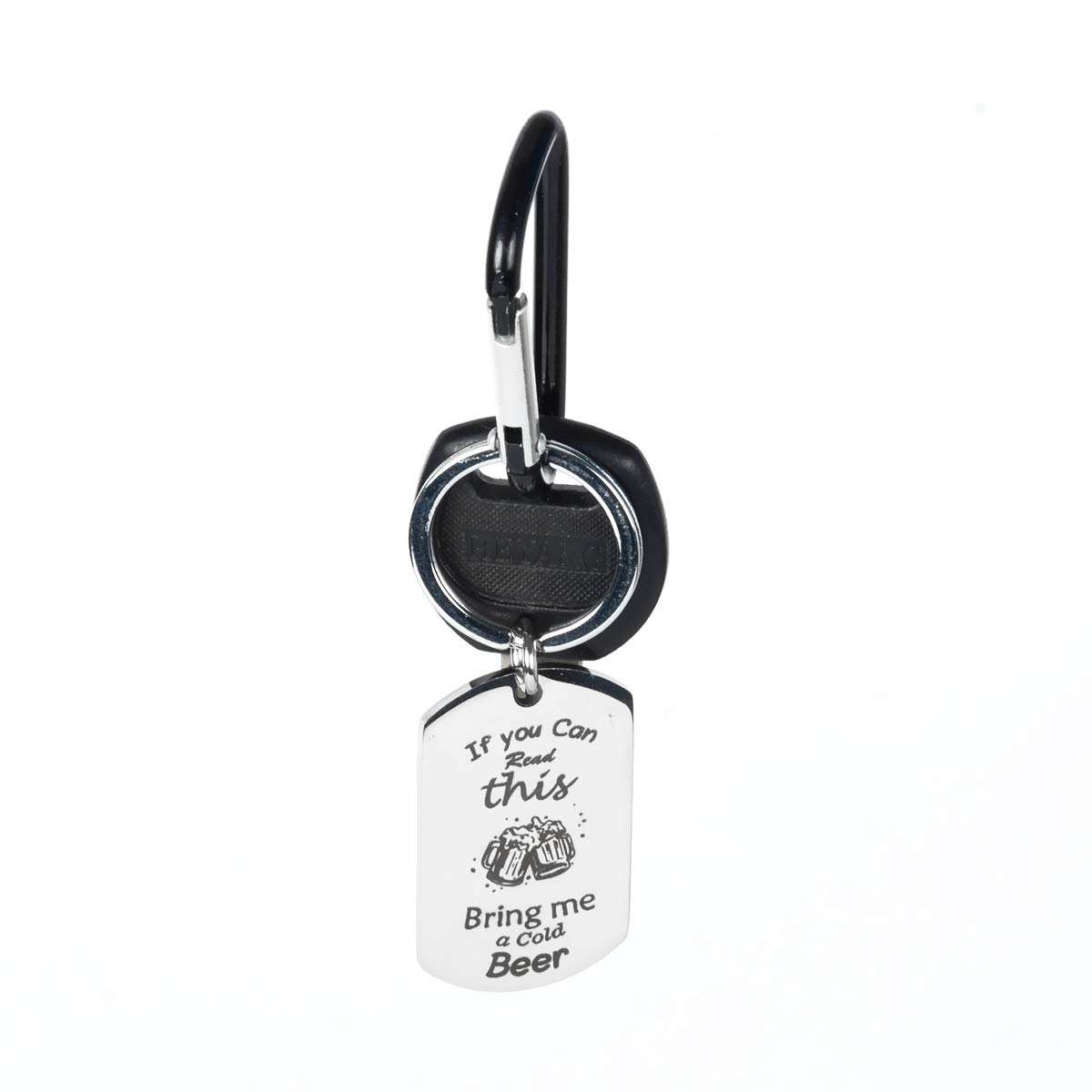 If You Can Read This, Bring Me Keychains - Beer, Wine, Coffee, Chocolate Theme - Funny Novelty Stainless Steel Key Chain Decoration Key Holder Ring Keys Organizer Gifts for Men and Women (Beer)