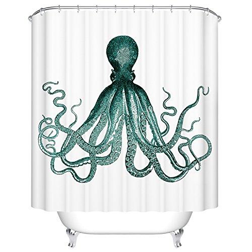 Goodbath Octopus Print Kraken Ocean Mildew Resistant Waterproof 100 Polyester Fabric Shower Curtains Green