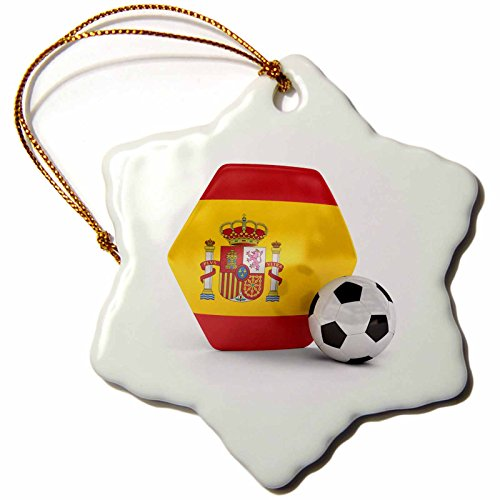 3dRose orn_181916_1 Spain Portugal Soccer Ball Snowflake Ornament, Porcelain, 3-Inch by 3dRose