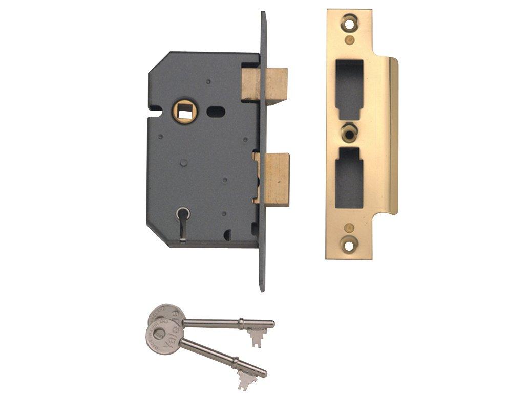 Yale Locks PM550PB25 5 Lever Mortice Sash Lock 67mm 2.5-inch - Polished Brass Finish Finish YALPM550PB25