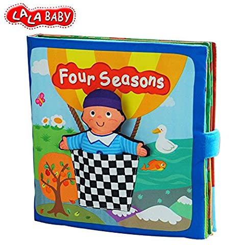 LALABABY Baby Early Learning Educational Toys Four Seasons Beauty Cotton Soft Cloth Book for 3-36 (The Middle Season 1 2 3 4)