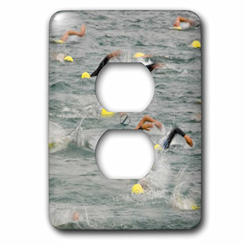 Danita Delimont - Swimming - Swimming, Whitefish Triathlon, Whitefish Lake Montana - US27 CHA1173 - Chuck Haney - Light Switch Covers - 2 plug outlet cover - Outlet Triathlon