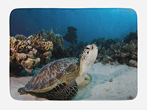 Ambesonne Turtle Bath Mat, Underwater Sea Animal on Coral Reef in Red Sea Egypt Amphibian Exotic Nature, Plush Bathroom Decor Mat with Non Slip Backing, 29.5