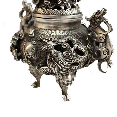 Calderas de cobre artesanía de plata de niquelado casa de antigüedades creatividad decoración clásico Kowloon quemador de incienso: Amazon.es: Hogar