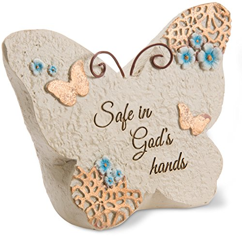 Pavilion Gift Company Light Your Way Memorial - Safe in God's Hands Memorial Butterfly Rock, Solid (Rock Butterfly)