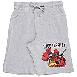 Marvel Deadpool Taco Tuesday Men's Loungewear Shorts in Heather Grey. S-XL.