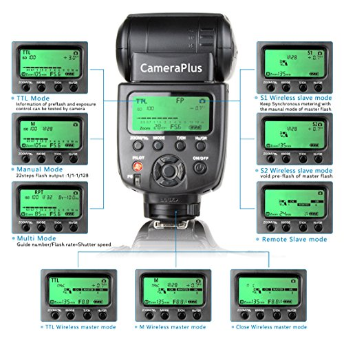 CameraPlus CP-N580 HSS High Speed sync Flash Speedlite Nikon Cameras which Compatible CLS, COOLPIX Nikon Camera which Compatible i-TTL