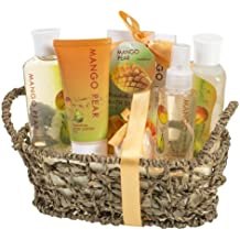 Tropical Beauty Mango-Pear Bath And Body Gift Set for Women: Exotically Scented Collection Including Shower Gel, Bubble Bath, Bath Salt, Body Lotion, Body Spray, and Bath bomb