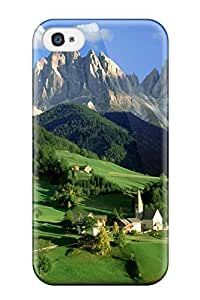 Fashionable Style Case Cover Skin For Iphone 4/4s- Evergreen Mountains Mountain Church Isolated Green Nature Other