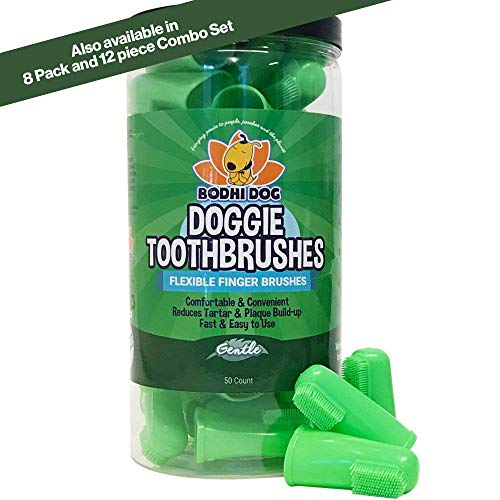 New Gentle Disposable Dog Toothbrushes | Soft High Grade Finger Toothbrush with Silicone Bristles for Pet Dental & Oral Care Teeth & Gums | Bulk Container 50 Pack]()