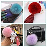 SIQUK 36 Pieces Faux Fur Pom Pom Balls DIY Faux Fox Fur Fluffy Pom Pom with Elastic Loop for Hats Scarves Gloves Bags Accessories
