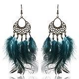 Feather Asymmetric Dangle Earrings Long Silk Tassel Shoulder Duster Earrings with Statement Hook Earrings Five Styles (Green2)