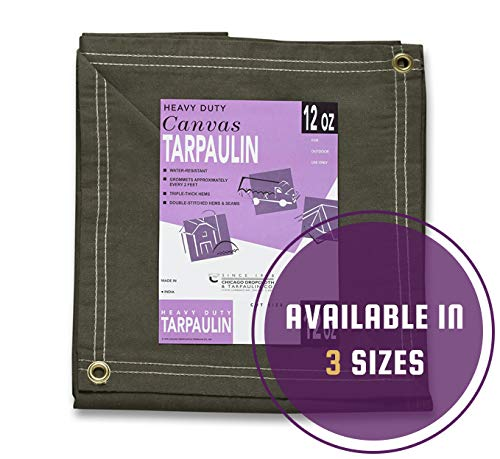 CCS CHICAGO CANVAS & SUPPLY 21 Ounce Canvas Tarpaulin, Olive Drab, 6 by 8 feet