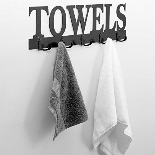 Black Metal TOWELS Design Wall Mounted 5 Dual-Hook Towel Hanger Rack for Bathroom or (Cut Out Design Metal)