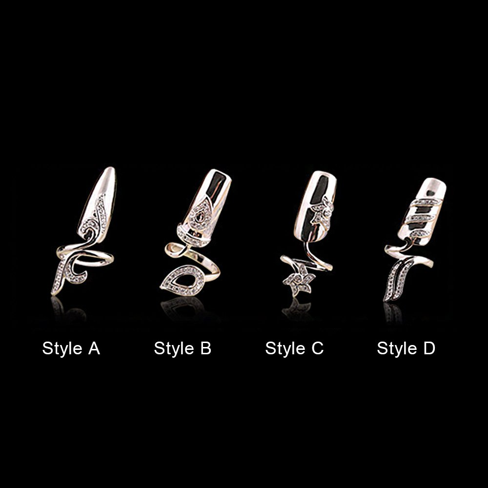SUPOW Fingernails Ring, Women's Rhinestone Flower Finger Tip Nail Ring, Fashion Jewelry Accessory for Women (D)