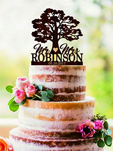 Tree Wedding cake topper Custom Mr and Mrs cake topper for wedding Name and Date Personalized Cake Topper Rustic wedding cake topper