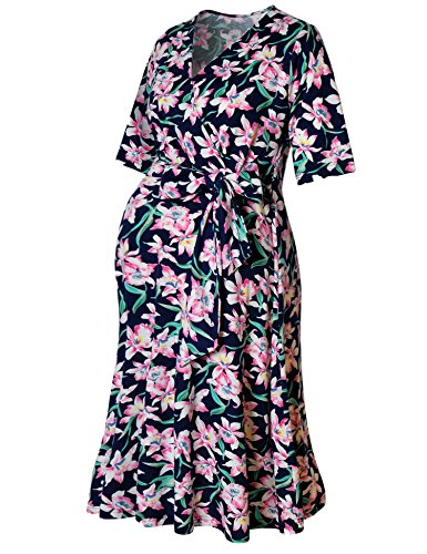 Maternity Wrap Dress V-Neck Midi Mama Dress Short Sleeve Front Tie Nursing Dress