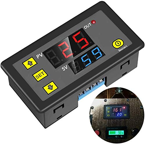 ICStation Timer Relay DC 12V 10A Programmable Digital Time Cycle Delay Switch Module 1500W 220V 110V ON-OFF Control 0-999 Second Min Hour LED Display