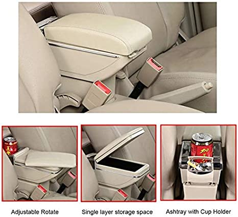 Longzhimei Arm Rest Box for Nissan Juke ESQ 2014-2017 Car Center Console Armrest Storage Box Accessories with Cup Holder Removable Ashtray