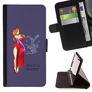 Momo Phone Case / Flip Funda de Cuero Case Cover - Señora de dibujos animados vestido rojo - Samsung ALPHA G850