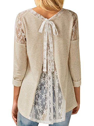 Meilidress Womens Lace Panel Tops Tie Back Bowknot Blouse Long Sleeve Casual T Shirts