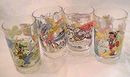 e5b97c8bd8 Amazon.com   McDonald s 100th Anniversary Disney Glasses - Set of 4 ...