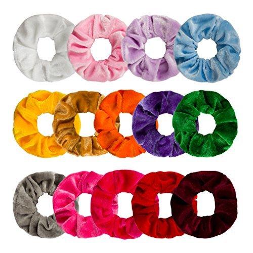 (Ondder 14 Pack Hair Scrunchy Velvet Scrunchies Hair Bobble Elastics Hair Bands Headbands Women Scrunchies Bobbles Hair Ties, 14 Colors)