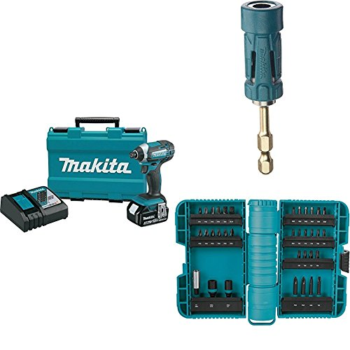 Makita XDT111 18V LXT Lithium-Ion Cordless Impact Driver Kit (3.0Ah) with B-35097 Impact GOLD Ultra-Magnetic Torsion Insert Bit Holder with A-98326 ImpactX 35 Pc. Driver Bit Set by Makita