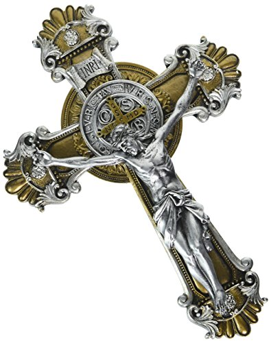 - Religious Gifts Saint Benedict Wall Crucifix with Antique Silver and Gold Finish, 10 1/4 Inch