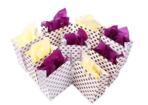Gift Bags 8x4.75x10.5 Medium Paper Shopping Bags 12 Pack - 6 Gold and 6 Silver Gift Bags Polka Dot Perfect for Weddings, Birthday and Graduation Presents, Gift Wrap Bags by BagDream (Image #4)