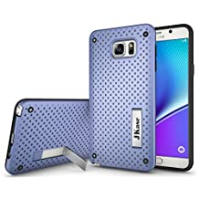 JKase [MESH] Protective Tough 2 Layers Armor Rugged Case Cover with Build-In Stand for Samsung Galaxy Note 5 (Purple)