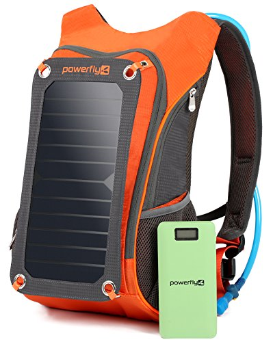[Burning Man Special] Powerfly ECO Solar Powered Backpack 10000mAh Power Bank, 2L Hydration Pack, 7W Solar Panel - Hiking Camping Travel Portable Sun Charger Kit for Charging Tablet Camera Smart Phone