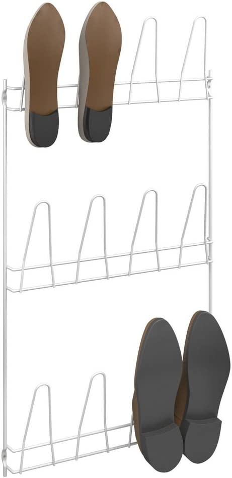 Metaltex Penny - 36611214080 - Wall-Mounted Shoe Rack - 6 Pairs - Metal - White - 40x6x77.5cm