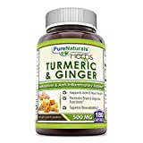 Pure Naturals Turmeric Plus Ginger 500 mg, Capsules -Antioxidant Power – Provides Anti-Inflammatory Support (180 Count) For Sale