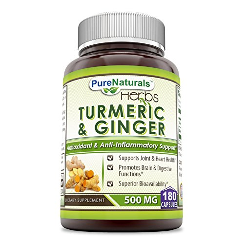 Pure Naturals Turmeric Plus Ginger 500 mg, Capsules -Antioxidant Power - Provides Anti-Inflammatory Support (180 Count)