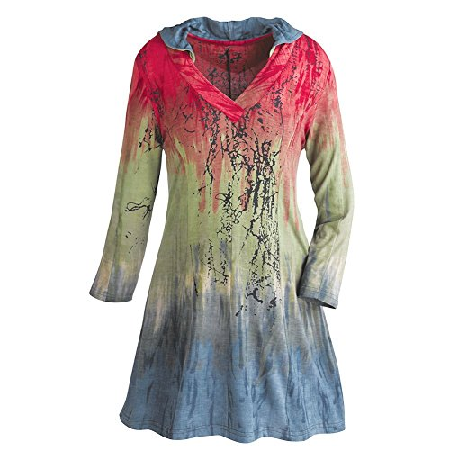 Women's Hooded Tunic Top - Red, Green & Gray Ombre Print Shirt - 1X