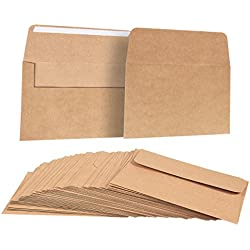 A7 Envelopes for Invitations - 50-Count A7 Invitation Envelopes Bulk, Kraft Paper Envelopes for 5 x 7 Inch Photos, Wedding, Baby Shower, Party Invitations, Square Flap, Brown, 5.25 x 7.25 Inches