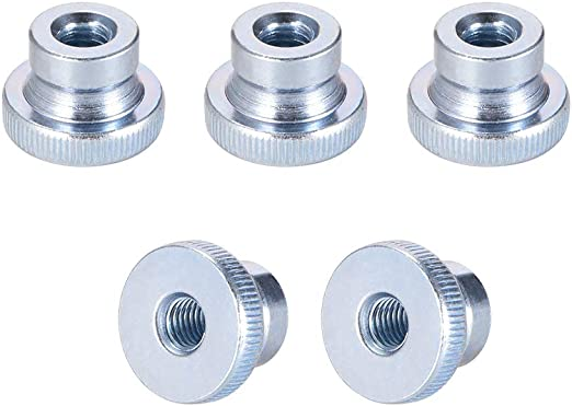 Pack of 20 Nickel Plating uxcell Knurled Thumb Nuts M4 Female Threaded Thin Type